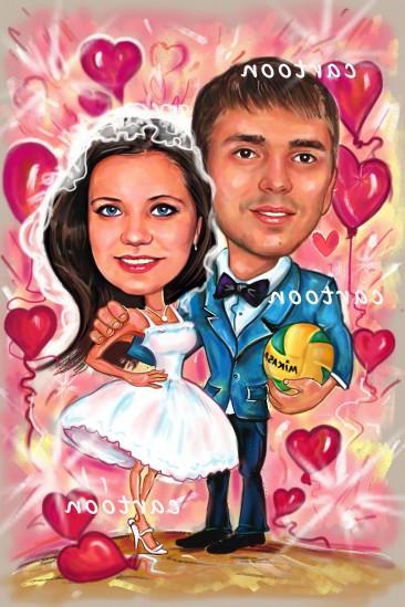 Свадебный шарж с оригинальным сюжетом в Тамбове!
