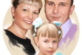 Семейный портрет по фото на холсте в Тамбове — правильный подарок!