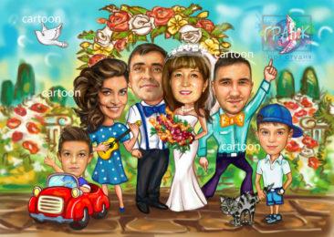 Шарж по фото на годовщину свадьбы на заказ в Тамбове…